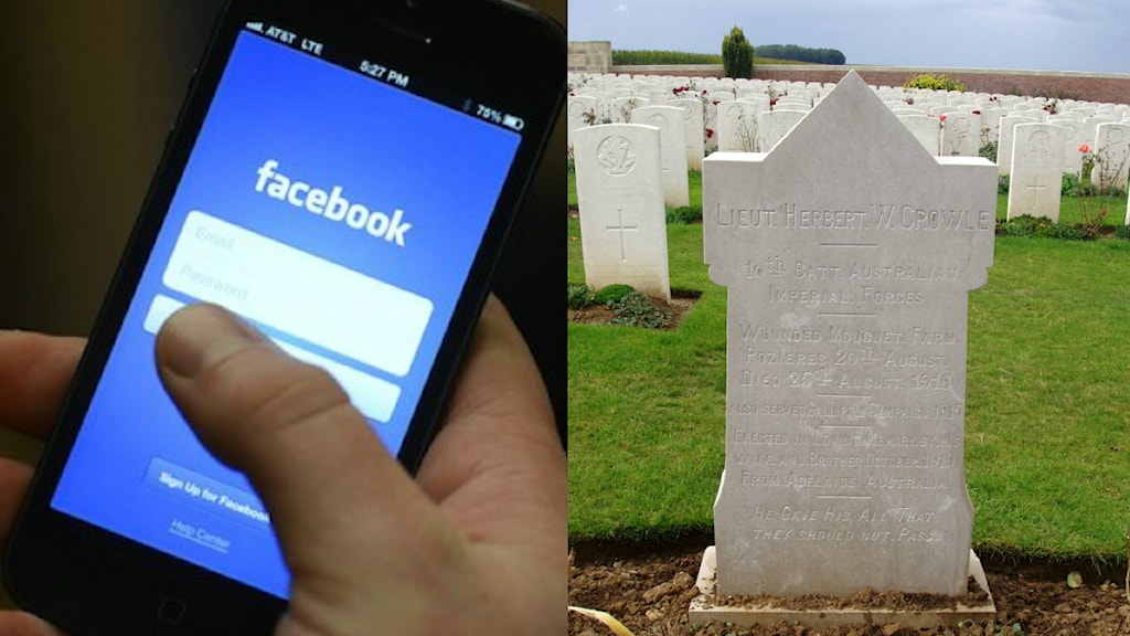Facebook på mobilen och en gravsten. Foto: PUCHEVILLERS BRITISH CEMETERY and more recent image of the