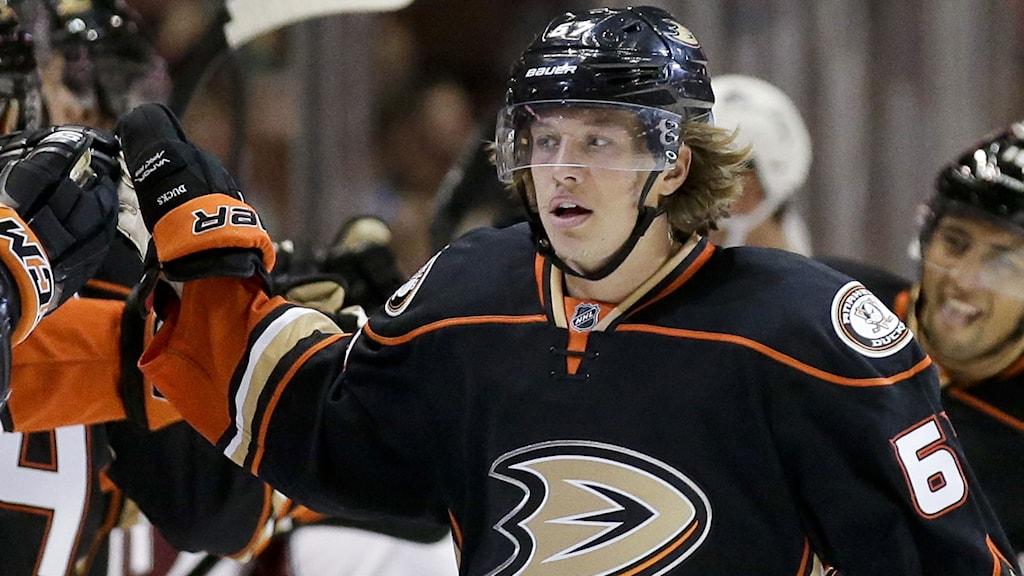 Anaheim Ducks center Rickard Rakell celebrates his goal with teammates after scoring against the Colorado Avalanche during the first period of an NHL hockey preseason game in Anaheim, Calif., Monday, Sept. 22, 2014. AP Photo/Chris Carlson