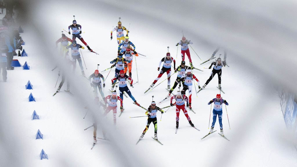 Participants start behind snow covered trees during the women's 4x6 kilometers relay race at the Biathlon World Cup in Oberhof, central Germany, Wednesday, Jan. 7, 2015. Czech Republic won the competition. AP Photo/Jens Meyer