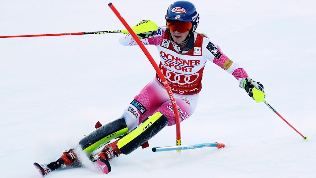 Mikaela Shiffrin i slalombacken i Killington.