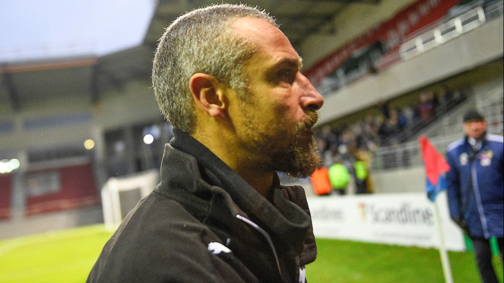 Helsingborg's manager Henrik Larsson leaves the pitch after Sunday's relegation.
