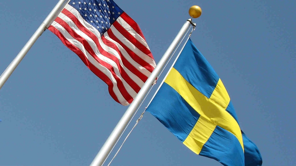 The American and Swedish flags