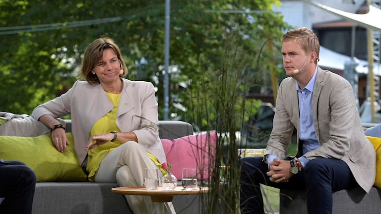 Green Party leaders Isabella Lövin and Gustav Fridolin at their party's day at Almedalen. Photo: Janerik Henriksson/TT