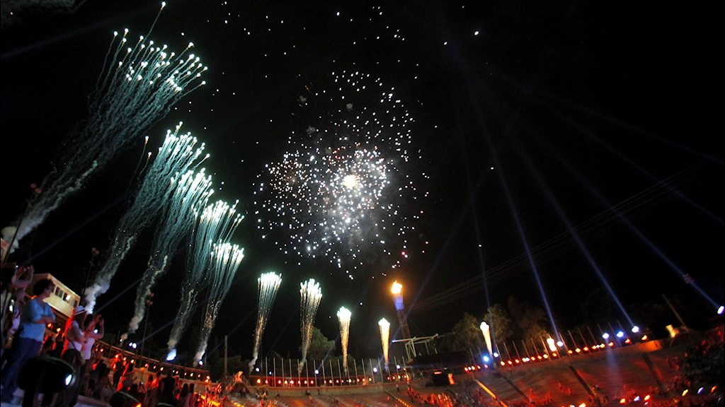 Fireworks illuminate the marble Panathinaikon stadium in Athens during the opening ceremony of the Special Olympics Athens 2011 World Games. File photo: Kostas Tsironis/AP.
