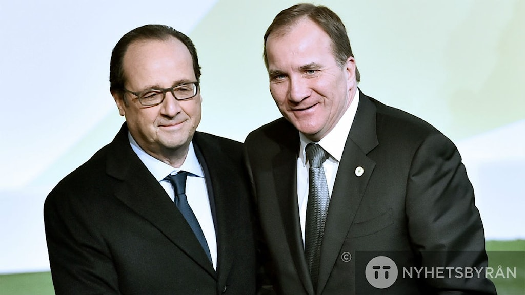 French President Francois Hollande and Prime Minister Stefan Löfven at the COP21, United Nations Climate Change Conference in Le Bourget, outside Paris