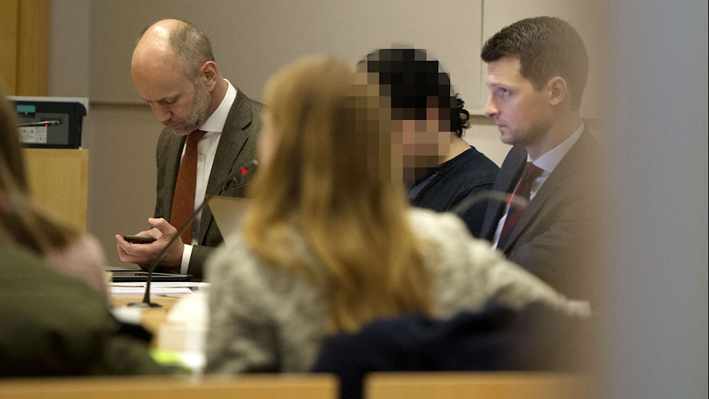 The accused in a Stockholm court. Photo: Jessica Gow / TT.