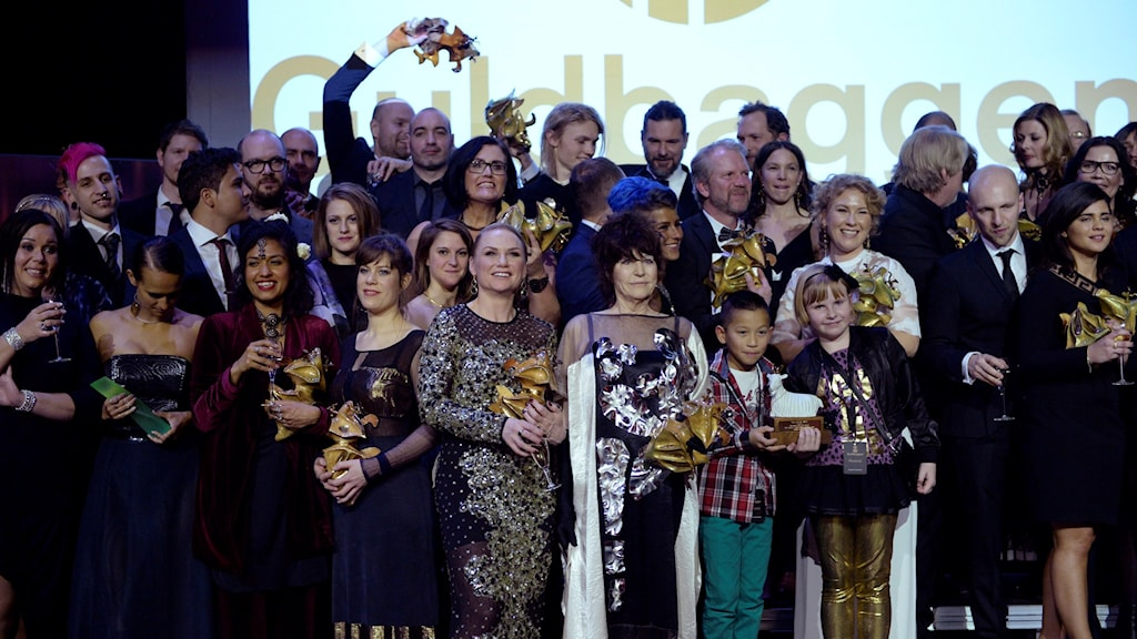 Guldbagge winners at Cirkus, in Stockholm, on Monday night. Photo: Jessica Gow / TT