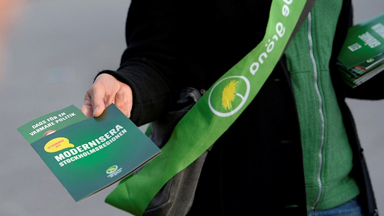 A Green Party member hands out flyers before the 2014 national election. Photo: Janerik Henriksson / TT.