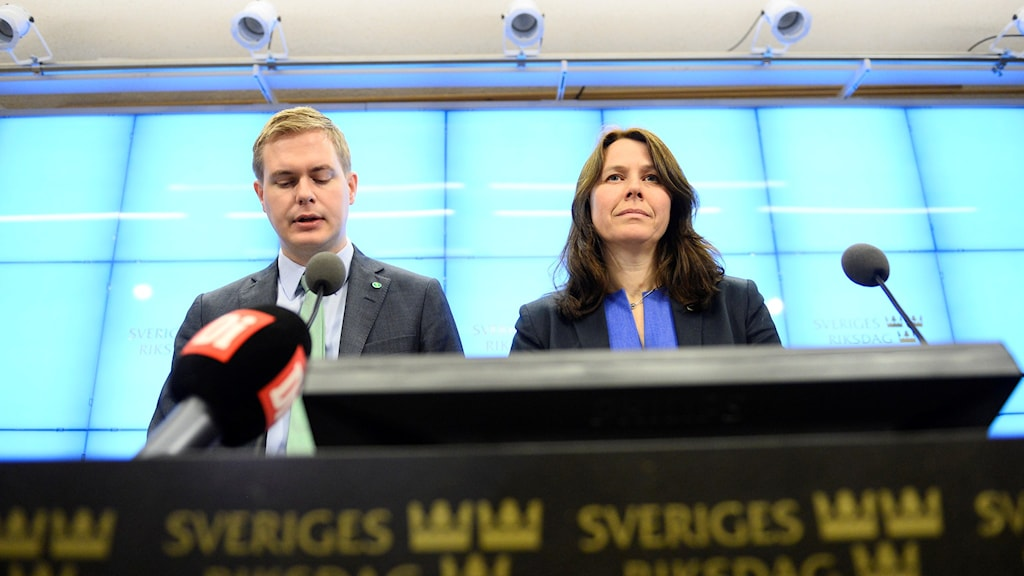 Green Party co-spokespeople Gustav Fridolin and Åsa Romson. Photo: Maja Suslin / TT.