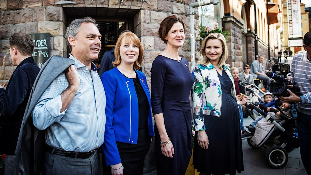 The Alliance party leaders, from left to right: Jan Björklund (Liberal Party), Annie Lööf (Centre Party, Anna Kinberg Batra (Moderate Party) and Ebba Busch Thor (Christian Democrats).