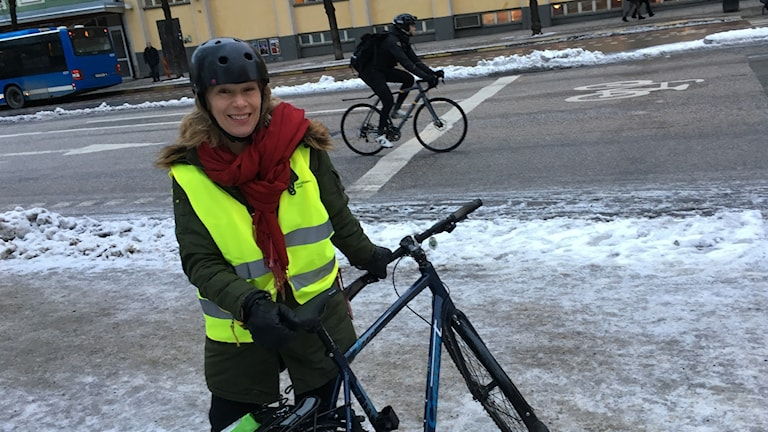 Stockholmer Ingrid Rogblad on her way to work.