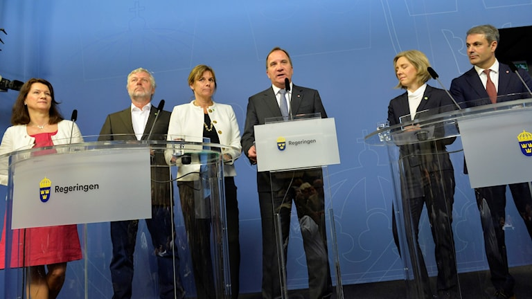 Prime Minister Stefan Löfven announces his new ministers and cabinet reshuffle. Photo: Jonas Ekströmer / TT.