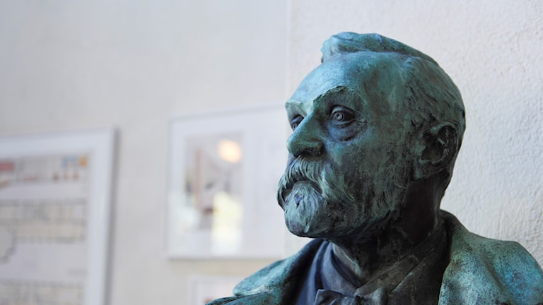 A bust of Alfred Nobel, the founder of the Nobel Prizes, outside Stockholm's Nobel Forum.