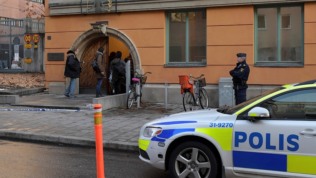 The scene outside the Uppsala District Court on Thursday.