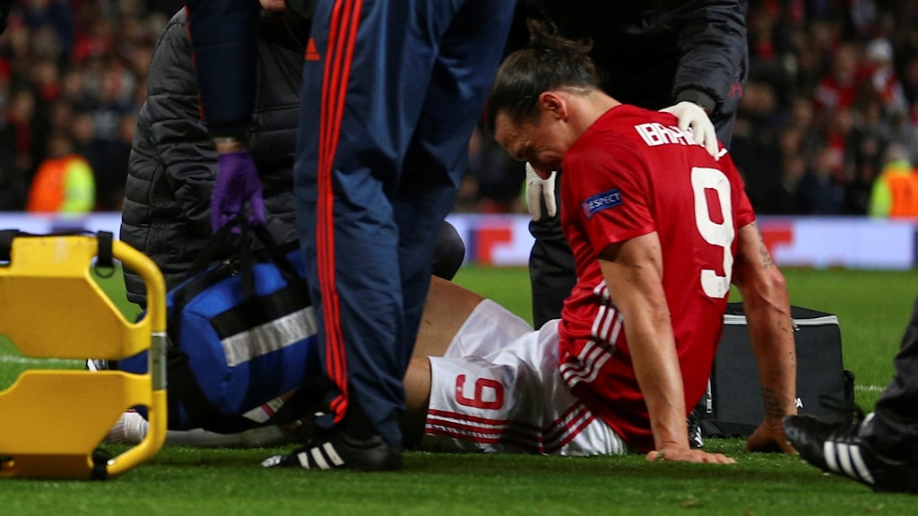 Zlatan Ibrahimovic grimaces after sustaining a serious knee injury last week. He now faces at least seven months on the sidelines.