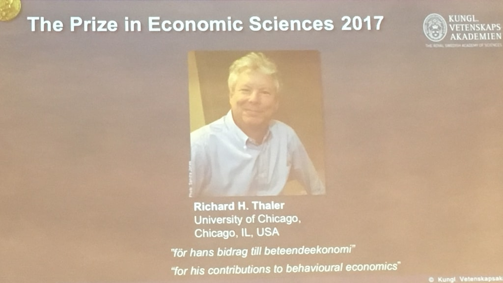 A projection showing the image of Richard H. Thaler