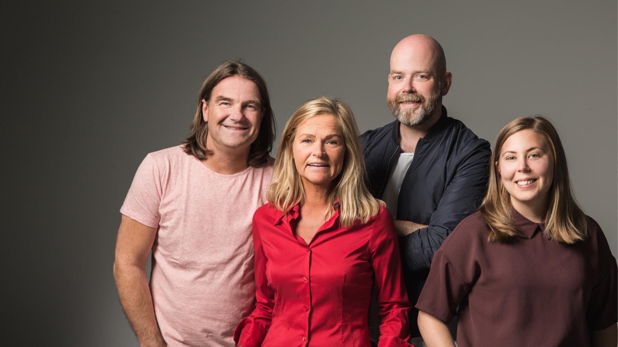 Med Jocke Wallgren, Anne Marchal och Peje Johansson