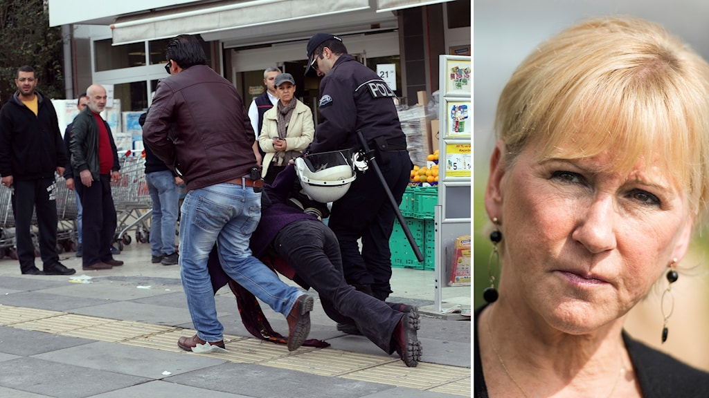 Turkisk polis släpar person - Margot Wallström