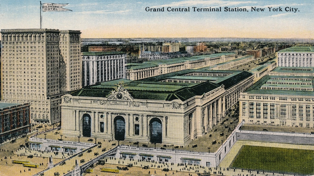 'Grand Central Terminal Station i New York'. Okänd konstnär (ca 1915).