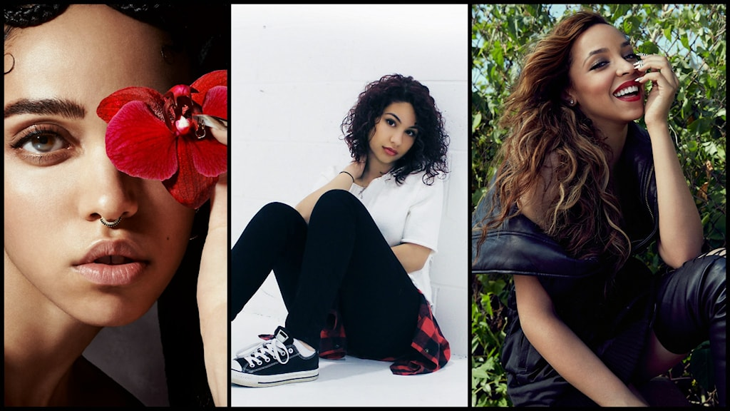 Bild på FKA Twigs, Alessia Cara och Tinashe. Foto: Pressbild/Creative Commons/Umusic/CC BY-SA 4.0/SonyMusic/CC BY 3.0