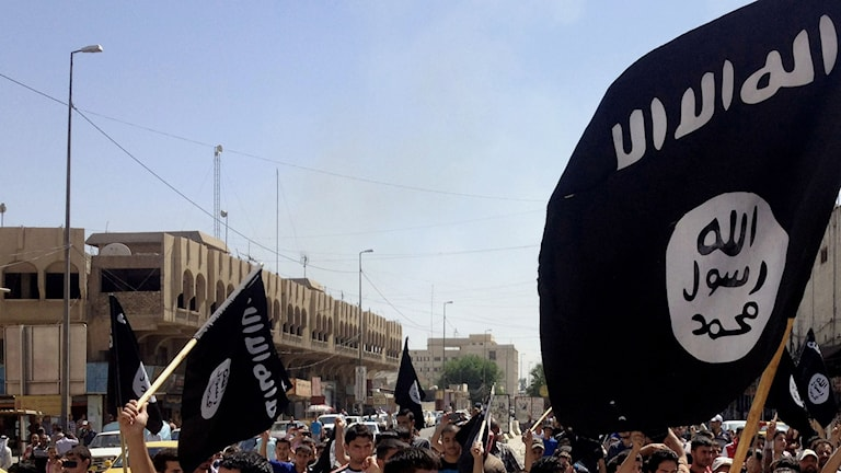 A parade from 2014 featuring the Islamic State flag in Mosul, Iraq. Photo: AP / TT.