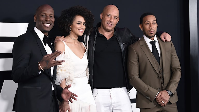 "Tyrese Gibson, from left, Nathalie Emmanuel, Vin Diesel and Ludacris attend the world premiere of Universal Pictures' ""The Fate of the Furious"""
