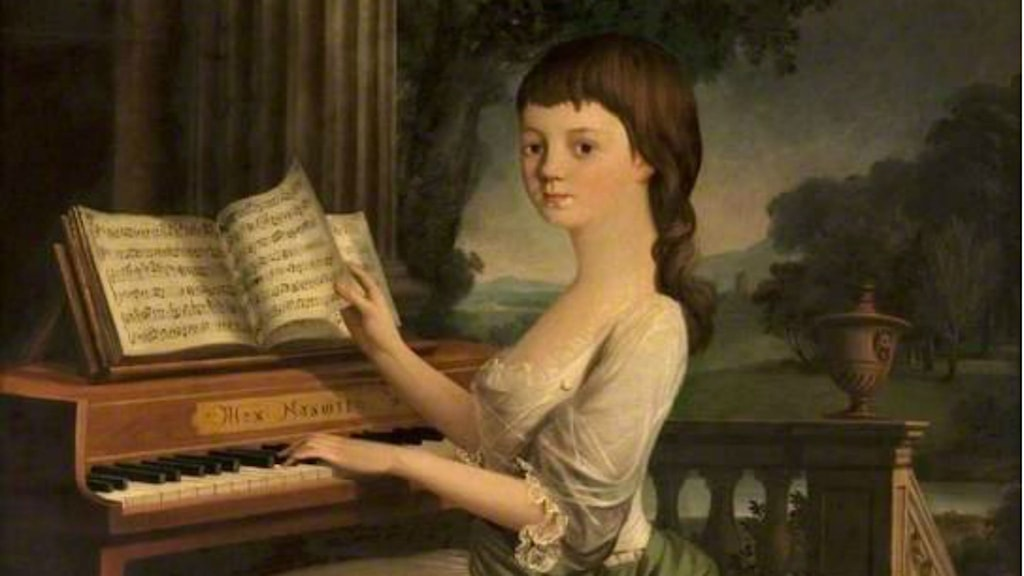 A girl at a harpsichord Mather Brown