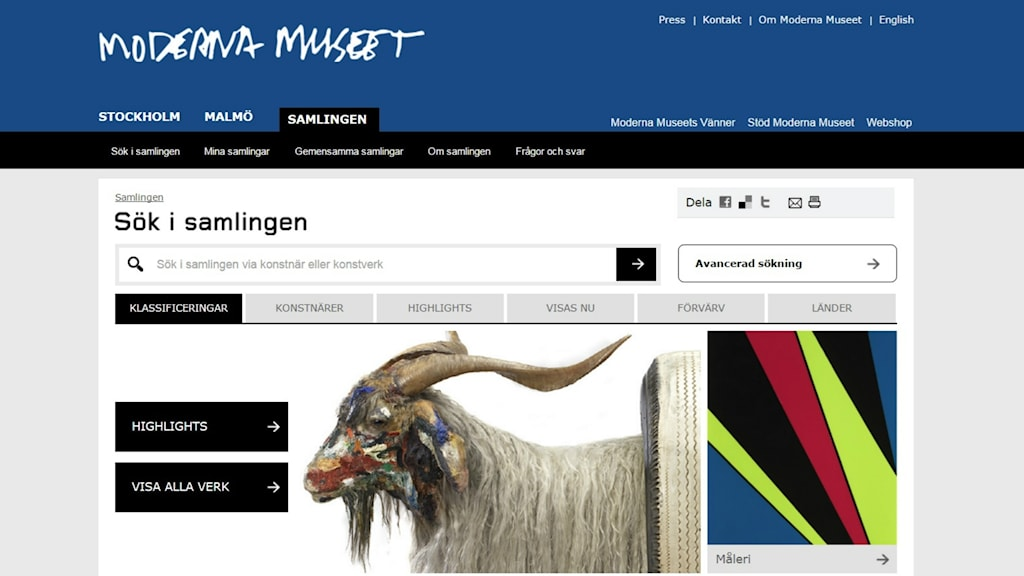 Moderna Museets digitaliserade samling.