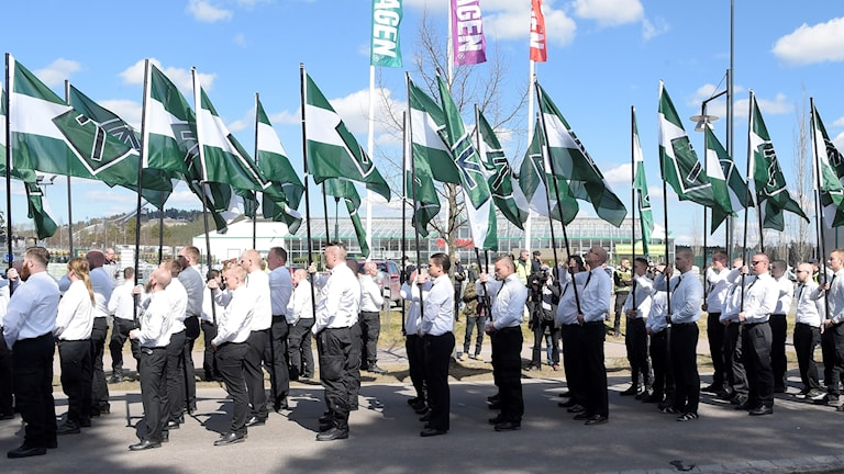 The Nordic Resistance Movement during an earlier march this year in Falun, central Sweden.