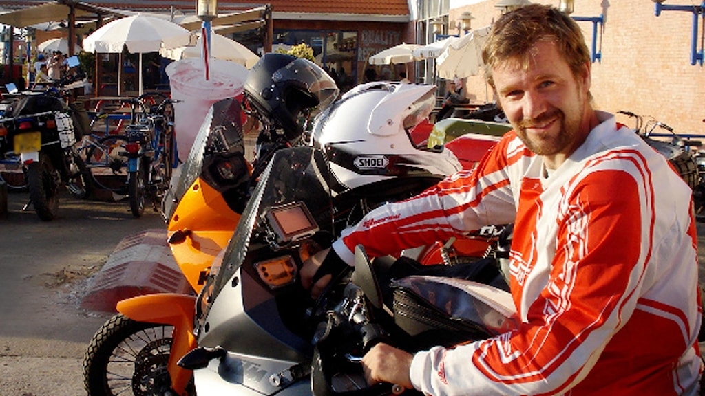 Swede Johan Gustafsson on his motorcycle trip before he was kidnapped. Photo:SR/private