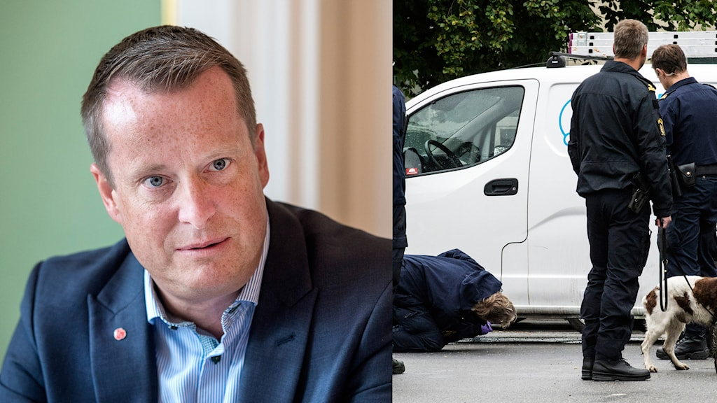Home Affairs Minister Anders Ygeman wants to tighten penalties after several attacks with hand grenades, Photo: TT. Montage: Sveriges Radio.