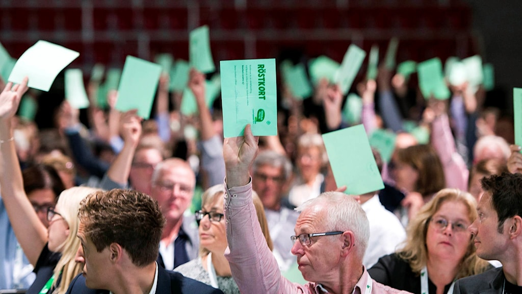 The NATO vote during the party's convention on Friday. Photo: Pontus Lundahl / TT.
