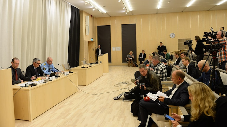 Photo from the press conference. Photo: Fredrik Sandberg/TT