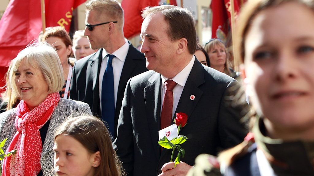 Prime Minister and leader of the Social Democrats Stefan Löfven in the 2016 demonstrations on May 1st.