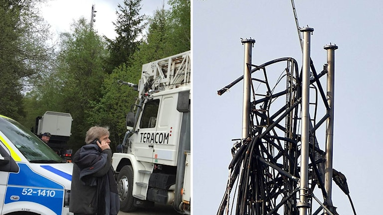 The broadcast transmitter outside of Borås was destroyed sometime Sunday night. Photo: Jenny Hellström / Swedish Radio and Urban Kallin.