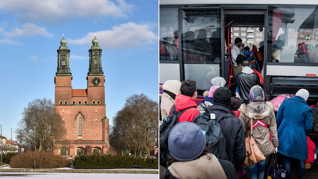 Two pictures. The church of Eskilstuna on the left, and a queue of asylum seekers witing to get on a bus on the right hand side.