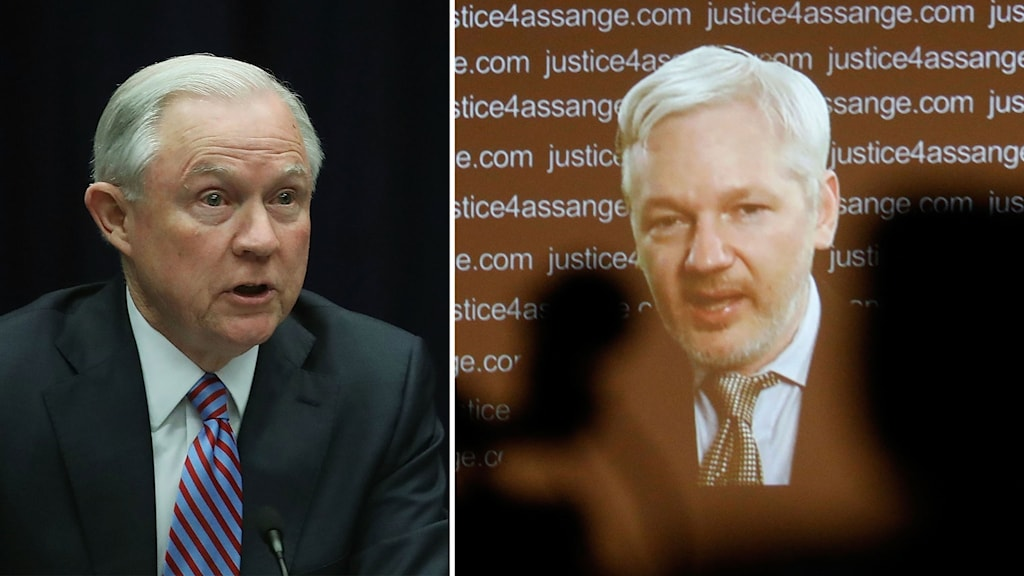 Split image: Jeff Sessions and Julian Assange.