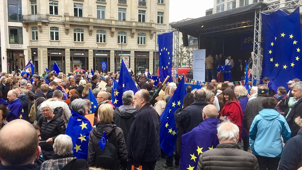 Demonstration för Europa i Frankfurt