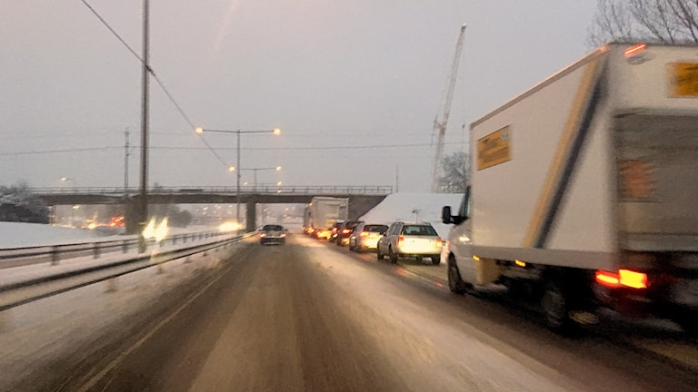Traffic on the E18 highway Tuesday morning in Värmland.