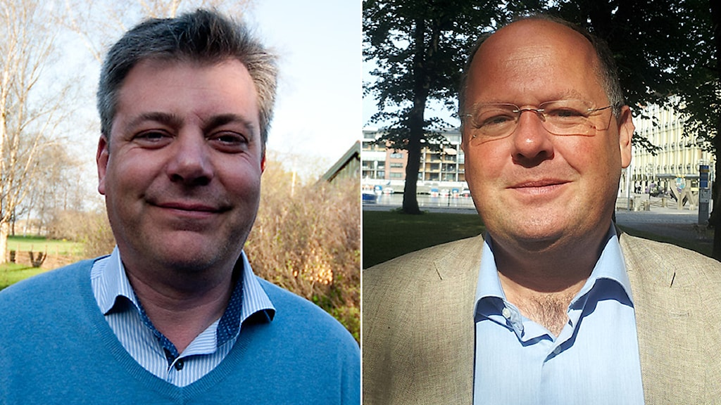 Pierre Månsson and Torkild Strandberg, two of Liberal Party members who wrote debate article in Dagens Nyheter. Photo: Sveriges Radio