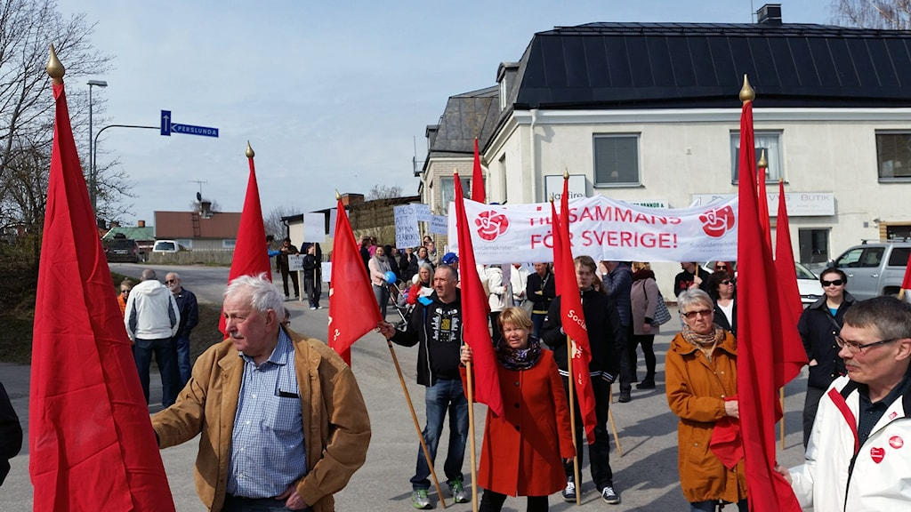 1:a maj demonstration 2016 Ockelbo demonstrationståg