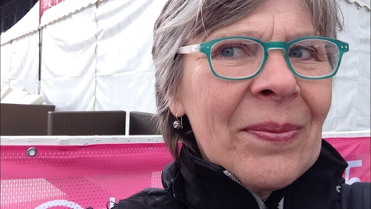 Merja Laitinen ja Elitloppet 2015.Kuva:Merja Laitinen/Sveriges Radio Sisuradio