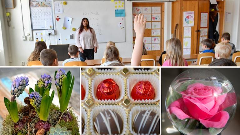 Fyra bilder. Klassrum med lärare och elever, julgrupp, chokladpraliner och prydnadsblomma.