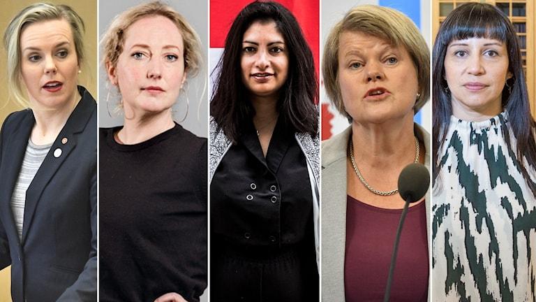 Linda Westerlund Snecker, Hanna Gedin, Nooshi Dadgostar, Ulla Andersson och Rossana Dinamarca.