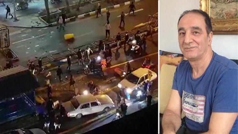 Bilar och människor på en gata i kvällsbelysning och en bild på en man.