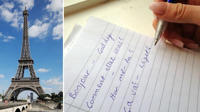 Två bilder i ett montage: en bild på eiffeltornet i Paris och en bild på en hand som håller i en penna och skriver ner franska glosor på ett papper