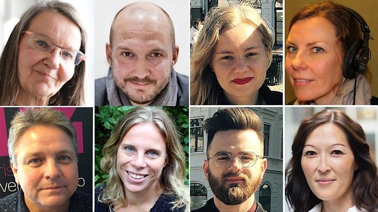 Åtta porträtt på åtta kvinnor och män.