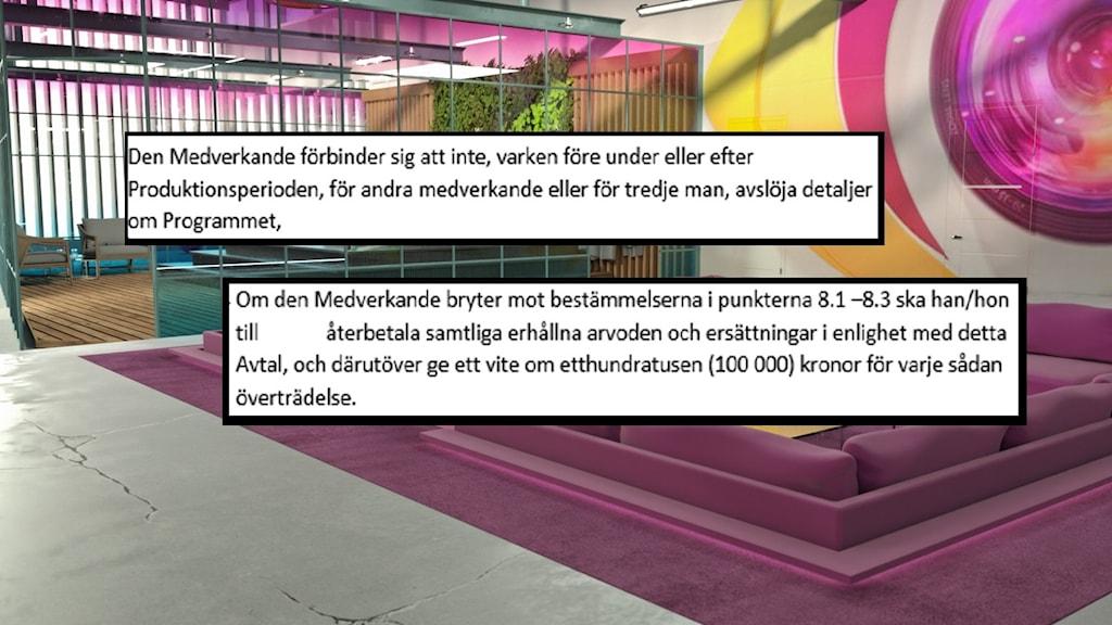Montage med Big Brother-studion i bakgrunden och utdrag ur ett deltagarkontrakt utklippt och monterat ovanpå.