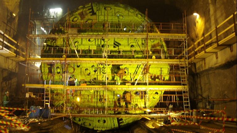 Borrhuvudet i startkammaren i hallandsåsen. Foto: Trafikverket