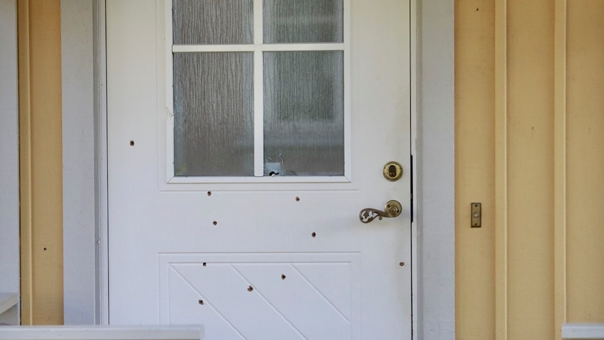 The shots passed trhough the door while the family were sleeping inside.